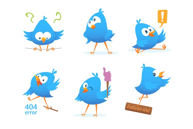 Funny characters of blue birds in action poses example image 1