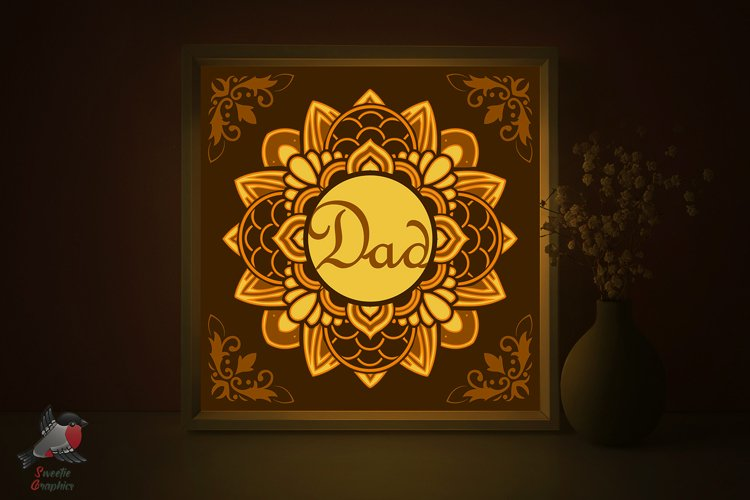 Fathers Day Gift Mandala Lightbox Shadow Box SVG Template