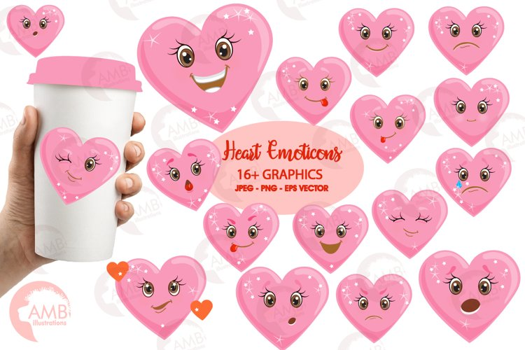 Valentine faces clipart, Heart emojis clipart, graphics illustrations AMB-1172 example image 1