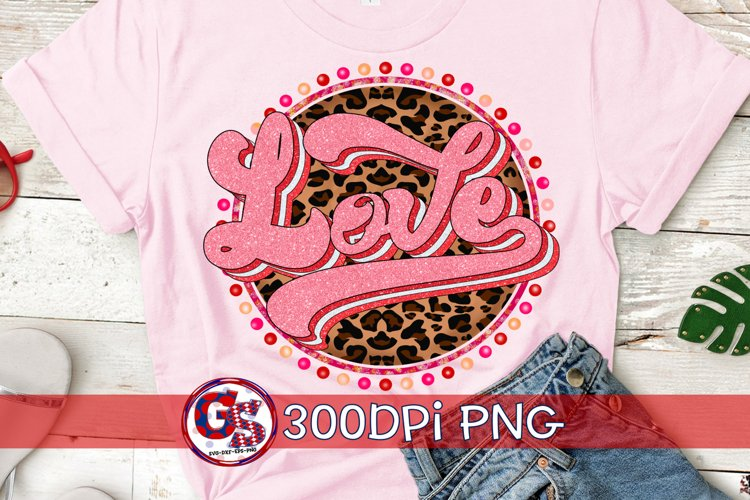 Valentine's Day | LOVE Retro Leopard PNG For Sublimation example image 1