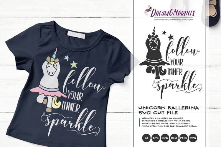 Follow Your Inner Sparkle | Unicorn SVG | Dancing Unicorn example image 1