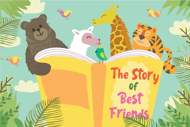 Animals Read Book - Vector Illustration example image 1