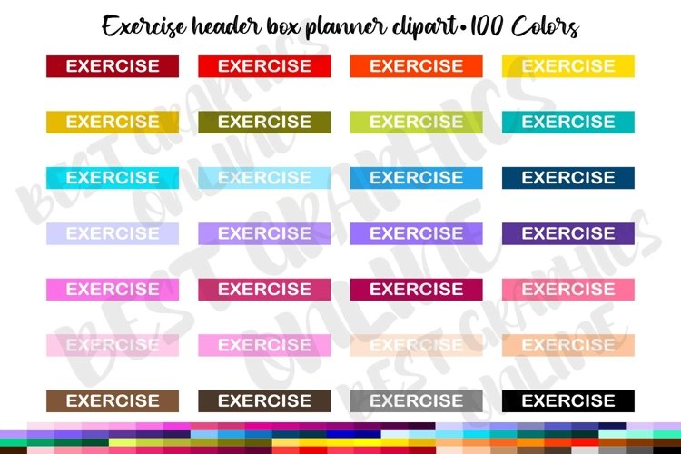 100 Exercise header box clipart set Printable planner boxes