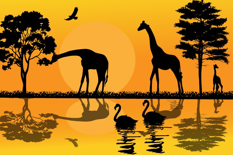 Giraffe silhouette, simple vector illustration example image 1