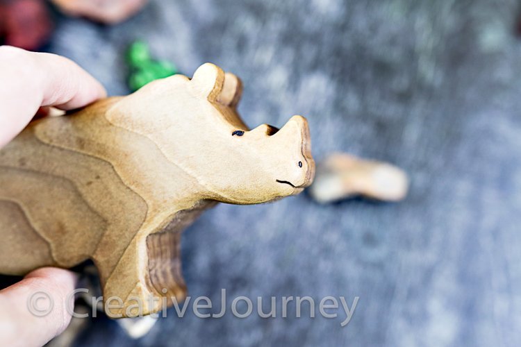 Wooden toys close up. Rhino.