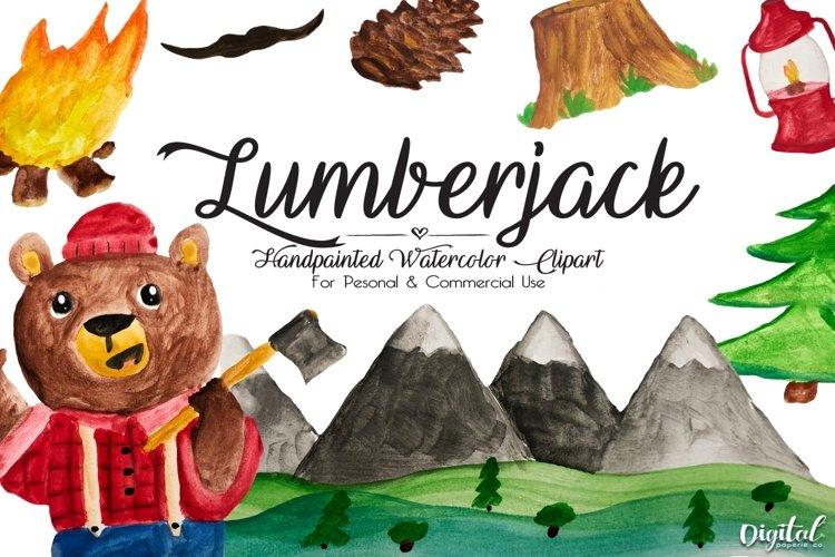 Lumberjack Bear Clipart, Watercolor Clipart, Lumberjack