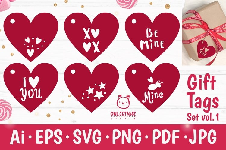 Valentines Day Gift Tags SVG Bundle, Valentine Decor example image 1