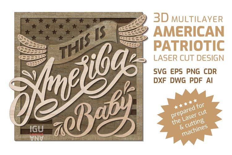 3D layered American patriotic quote 4th of july mandala SVG
