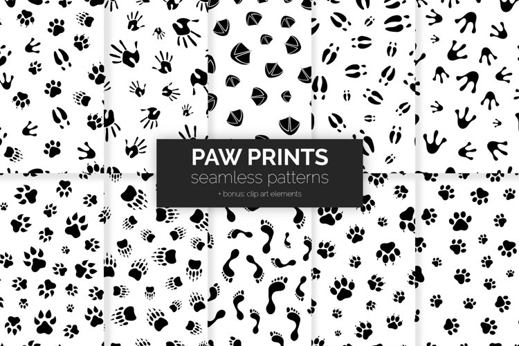 Paw Prints Seamless Patterns example image 1