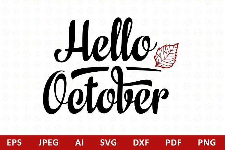 Hello October Lettering Phrase Text Graphic example image 1