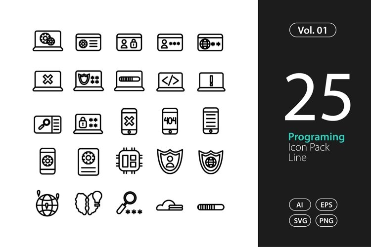 Programing Icon Line SVG, EPS, PNG example image 1