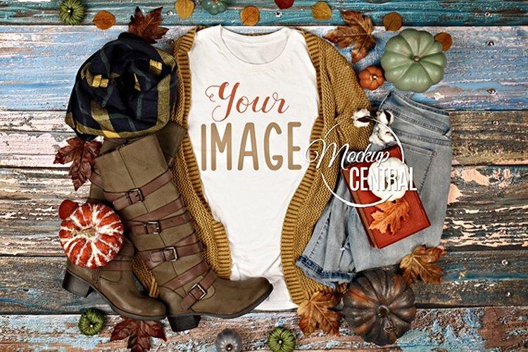 Rustic Woman's Fall Shirt Mockup T-Shirt Styled Apparel JPG example image 1