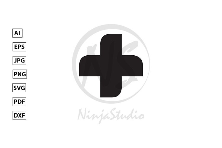 Medical Cross Icon In Flat Style Vector example image 1