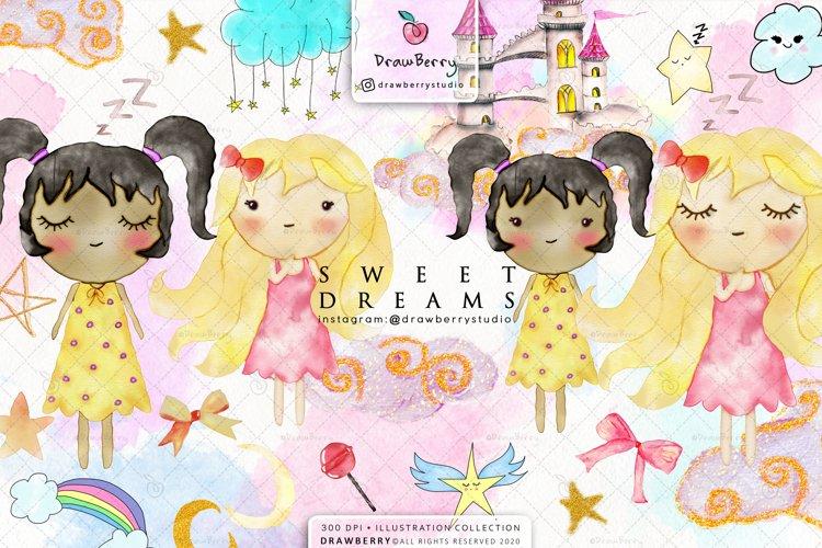 Sweet Dreams Baby Girls Nursery Clip Art Pack xo example image 1