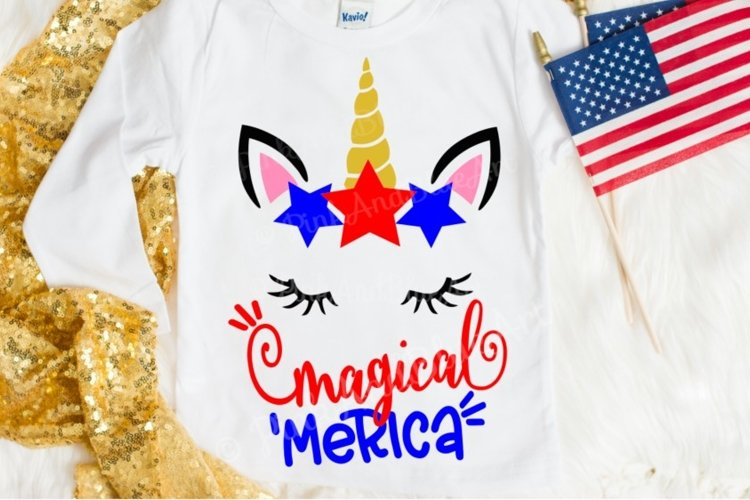Merica svg - Magical svg - Unicorn svg - 4th of july svg - July 4th svg - Miss America svg - America svg - SVG - dxf - png - pdf - eps example image 1