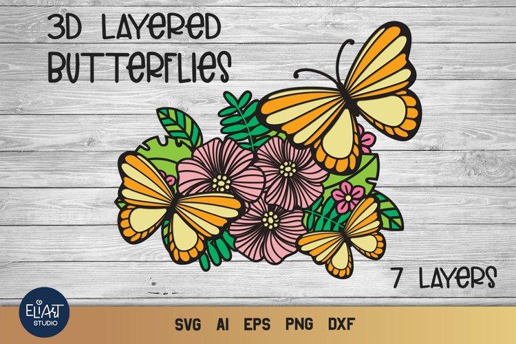 Butterfly SVG | 3d SVG Summer | Layered Butterflies Cut File