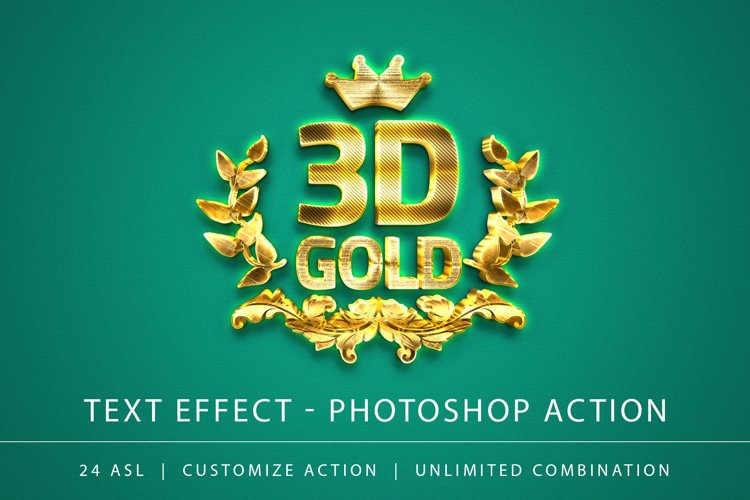 3D Gold Text Effect example image 1
