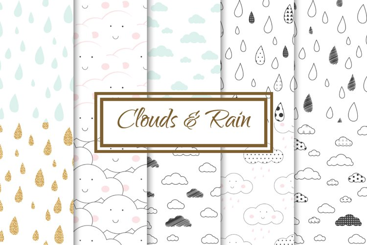 Clouds and Rain seamless patterns