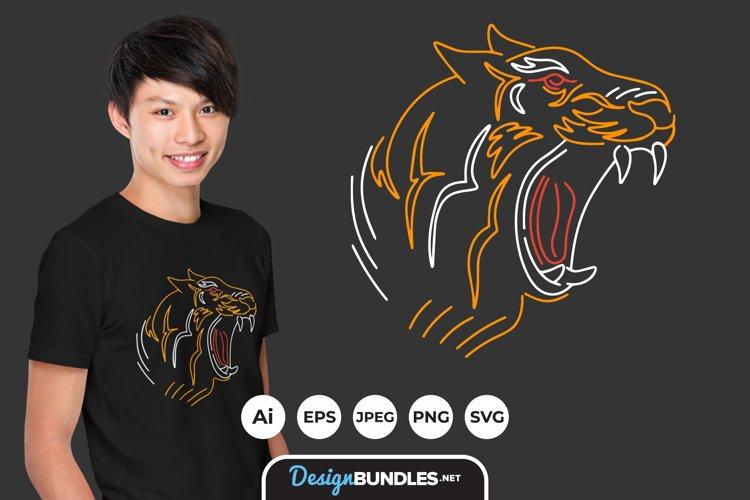 Tiger Line Art Illustrations for T-Shirt Design