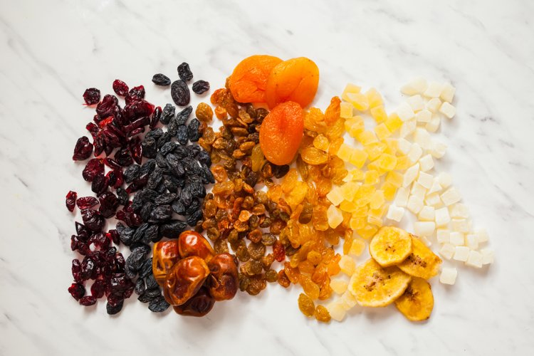 Set of fried fruits, top view colourful snacks example image 1