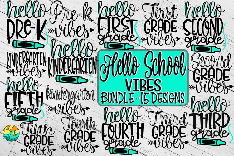 Hello School Vibes - Bundle - 15 Designs - SVG PNG EPS DXF example image 1