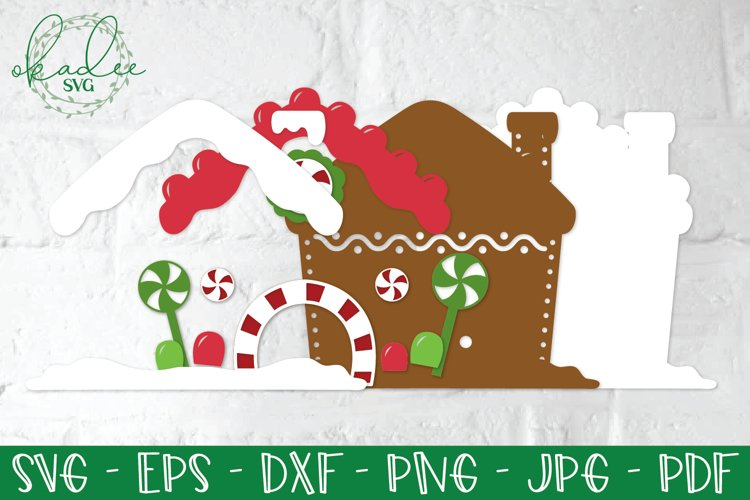3D Gingerbread House SVG, Papercut Gingerbread House example 1