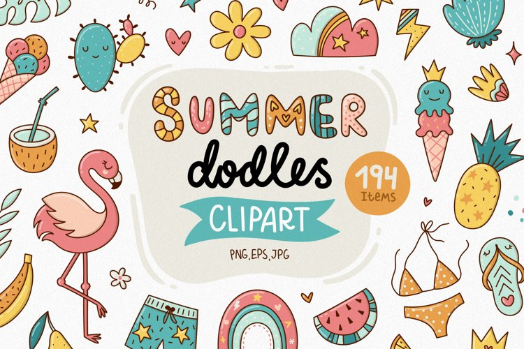 Summer Doodle Clipart - Tropical Set