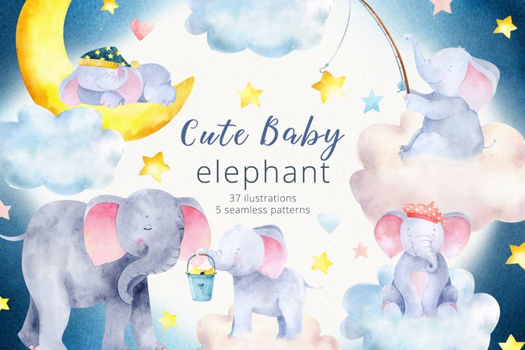 Baby Elephant clipart. Watercolor elephant seamless patterns