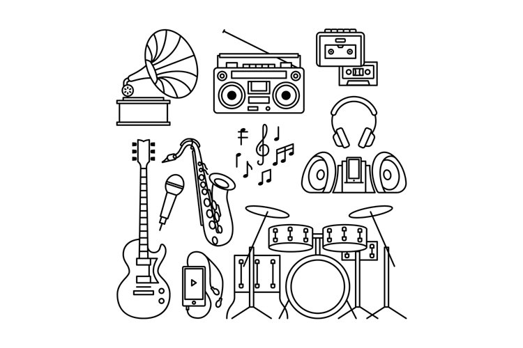 Music instruments thin line icons example image 1