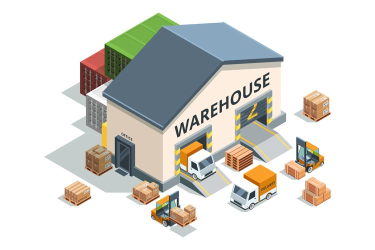 Warehouse building, trucks and load machines. Different pall example image 1