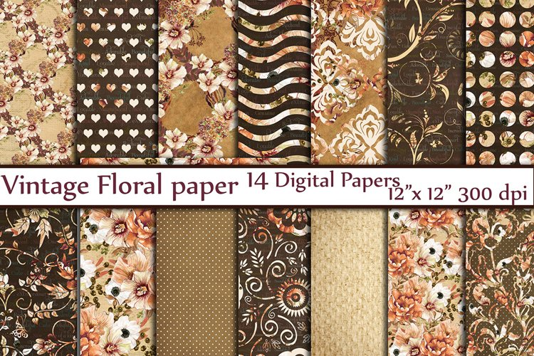Brown floral digital paper pack
