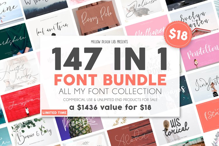 147 IN 1 Font Bundle SALE! example image 1