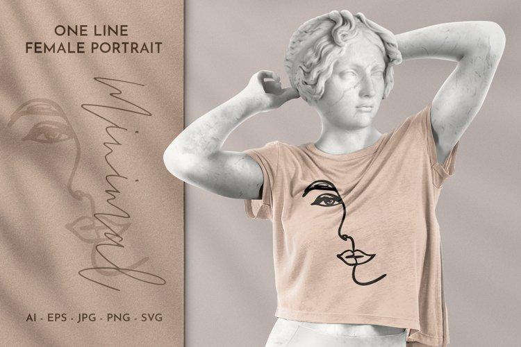 One Line Female Portrait Minimal Line Art Clipart example image 1