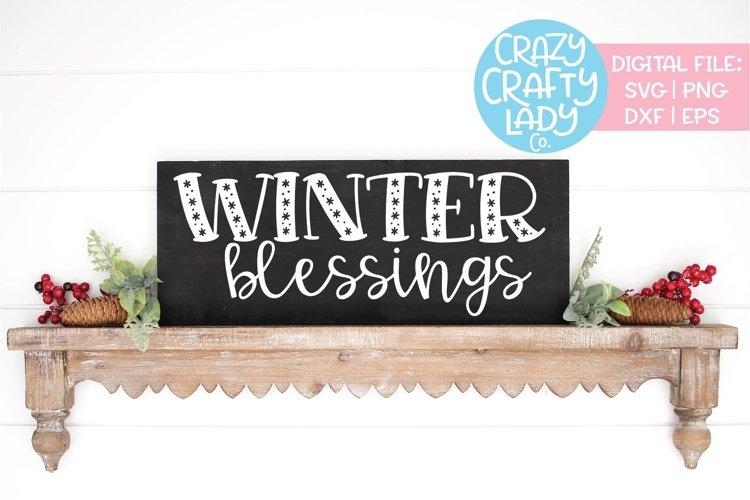 Winter Blessings Christmas Svg Dxf Eps Png Cut File 359988 Cut Files Design Bundles