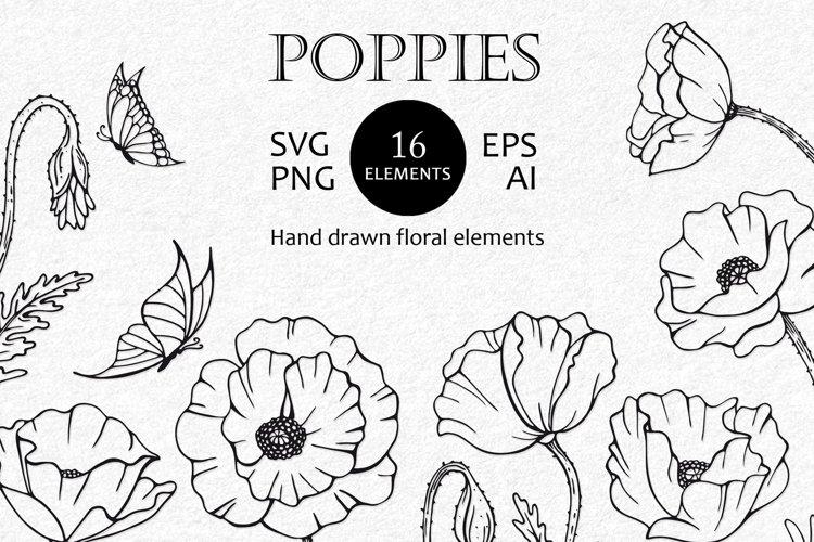 Poppy SVG files for cricut. Flower silhouette SVG, PNG, EPS.
