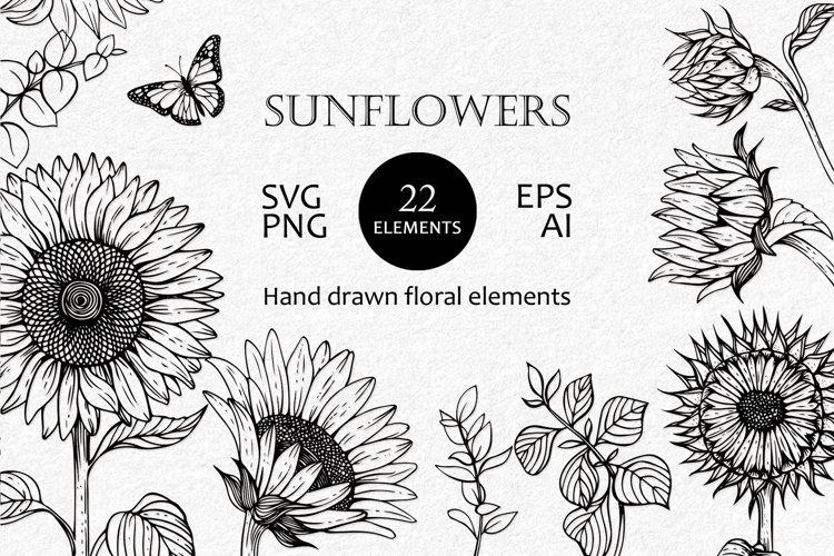 Sunflower SVG, PNG, EPS, AI. Flowers SVG files for cricut.