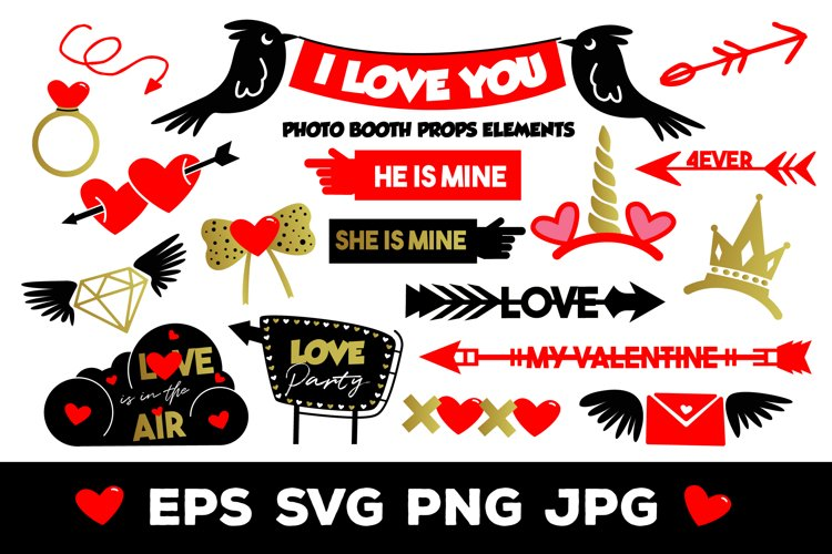 I Love You Photo Booth Props Elements example image 1