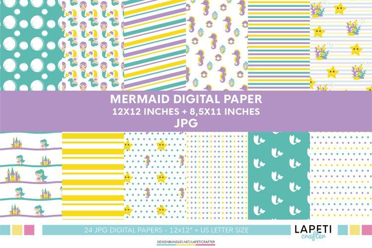 Mermaid digital paper, scrapbook paper, mermaid birthday example image 1
