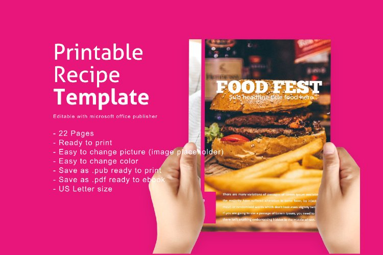 Recipe eBook Template Easy Editable Using Ms Publisher example image 1