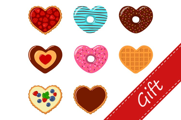 Clipart of gifts for valentines day. Cartoon flat st