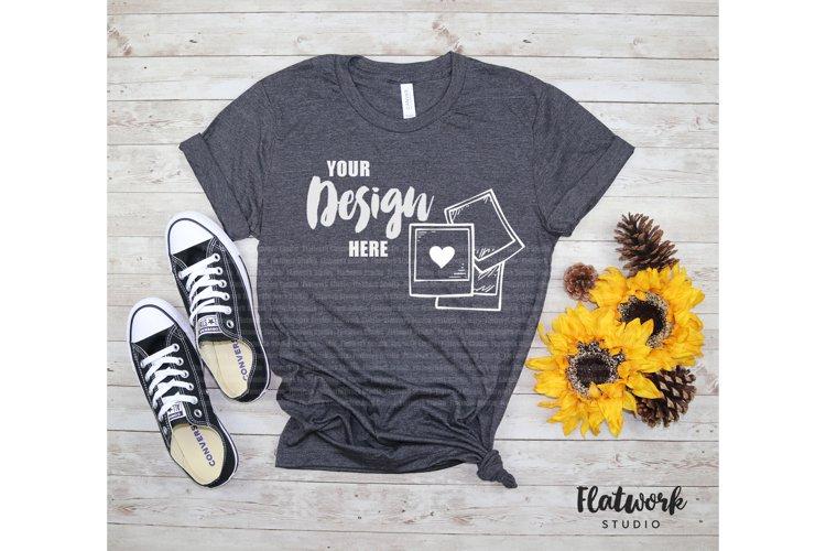 Fall Mockup | Bella Canvas 3001cvc T-shirt | Dark Grey Heath example image 1