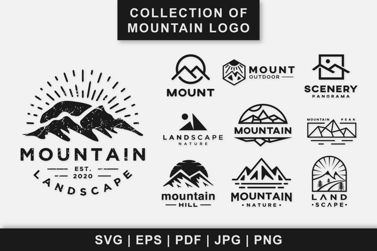Collection of mountain landscape logo design vintage example image 1