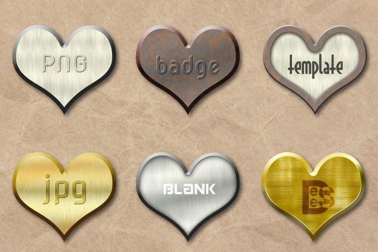 6 metallic Blank badge set. 3D rendering illustration. example image 1