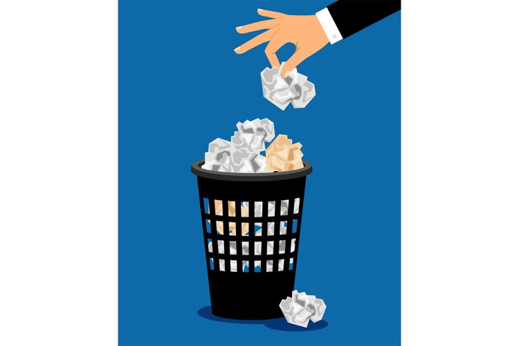 Businessman hand put paper in trash example image 1