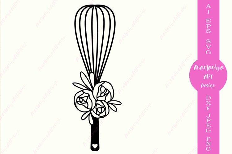 Floral whisk svg, Kitchen clipart, Cooking svg, Monogram dxf