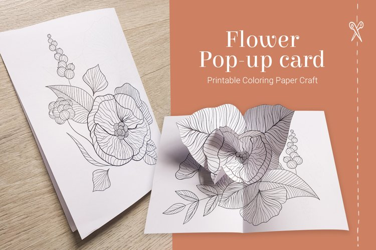 Coloring pop-up flower card for Mothers day