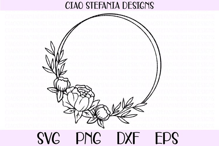 Peony Wreath Geometric Circle Frame Wedding SVG Cut File example image 1