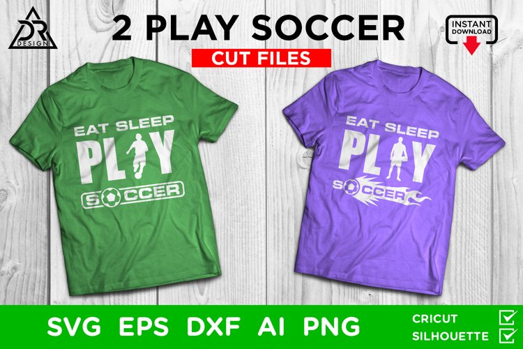2 Play Soccer SVG Cut Files example image 1