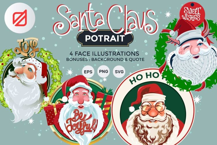 Santa Claus Face Collection Illustrations