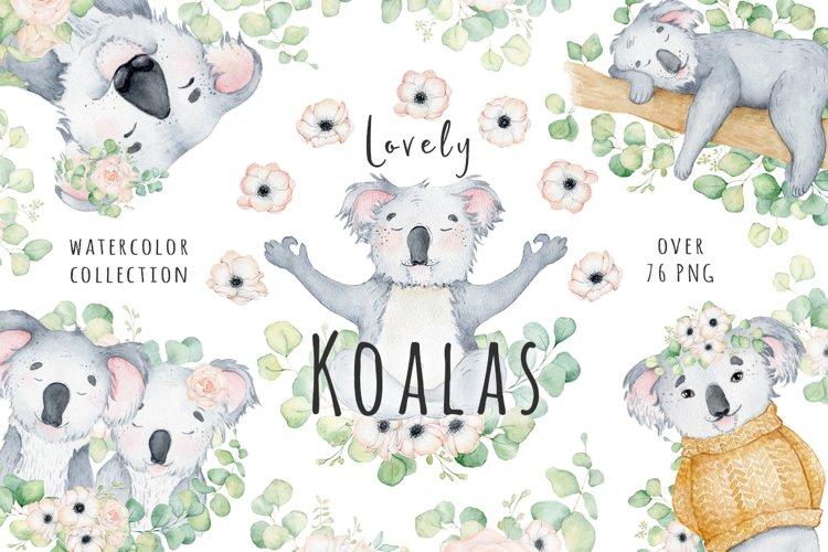 Lovely Koalas and Eucalyptus watercolor set example image 1